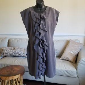 Olivia Matthews Gray Ruffled Dress